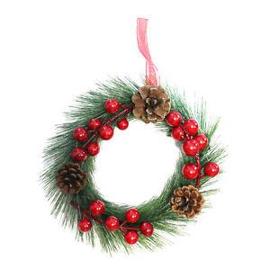 Christmas - 18cm Mini Hanging Door Wreath - Berries & Pine Cones - Choose Colour