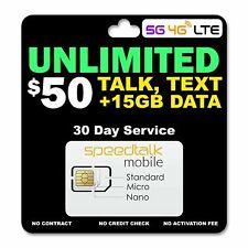 Speedtalk Smart Phone Sim Card Kit Unlimited Data Talk Text 5G 4G Lte Plan 1 mo.