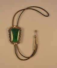 """Navajo Indian Heavy Sterling Silver Bolo Tie - Large 2.25"""" tall Malachite Stone"""