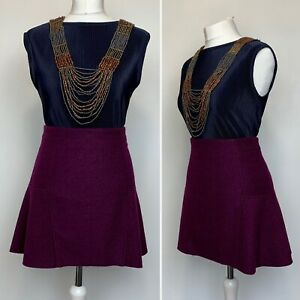 Size 12 - Savida (Dunnes) - Skirt Plum Mini Panelled Lined Wool Blend Flare VGC