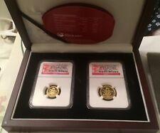 2012 $15 $25 LUNAR DRAGON GOLD 2 Coin SET NGC PF70 1/4 1/10oz FIRST STRIKES
