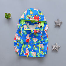 2018 UK Kids Baby Girls Tops Clothes Cartoon Hoodie Jacket Windbreaker Outerwear Sky Blue 100 Fit Age 2-3 Years