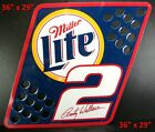"""Vintage 2001 Miller LITE  Rusty Wallace METAL PIT FLAG Wall Sign NASCAR 36""""x29"""""""