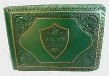 ITALIAN TOOLED LEATHER BINDER *FOREST GREEN* FLEUR de LEIS & SHELLS !AMAZING!