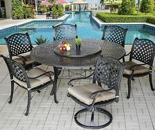"7 Piece for 6 Cast Aluminum Nassau Outdoor Patio Dining Set with 71"" Round Table"