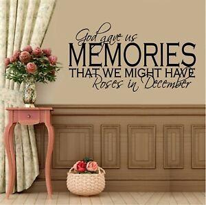 "God Gave us Memories.- Large - Vinyl Decal Home Décor 20"" x 35"""