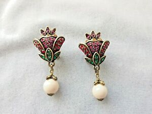 HEIDI DAUS Swarovski Red Flower & White Bead Drop Dangle French Clips Earrings