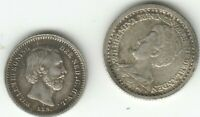 NETHERLANDS 1879 5 CENTS 1910 10 CENTS BOTH IN LOVELY CONDITION