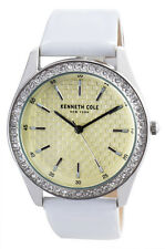 Kenneth Cole 10031705 Champagne Dial White Leather Strap Womens Watch 38mm