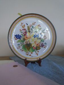 Handpainted Large Bright Spring Flowers Decorative Terracotta Glazed Plate Italy