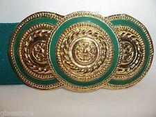 Vintage NAN LEWIS Gold GREEN ENAMEL Belt Buckle STRETCH Belt