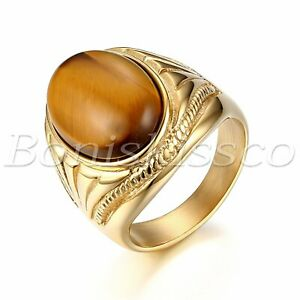 Men's Gold Tone Vintage Stainless Steel Oval Tiger Eye Stone Ring Band Size 7-13