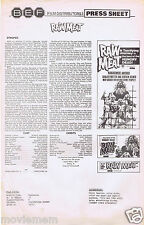 RAW MEAT Original Vintage Australian Movie Press Sheet Horror Donald Pleasence