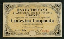 ITALY BANCA TOSCANA  1870 5 CENTESIMI BANKNOTE CRISP AND UNCIRCULATED