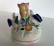 Antique Staffordshire Pottery English Doves & Tulip Inkwell Pen Quill Holder
