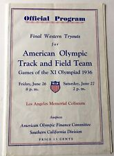 1936 Final Western Tryouts American Olympic Track And Field Team L Zamperini