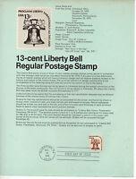 Estados Unidos Democracia Campana de la Libertad Hoja primer día año 1975 CS-345