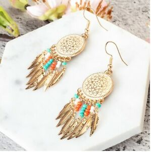 FOUR FEATHERS 3 Gold dream catcher earrings gold feathers dreamcatcher earrings Large long dangle dream catcher earrings