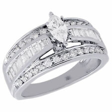 14K White Gold Marquise Cut Solitaire Diamond Wedding Engagement Ring 1 Ct.