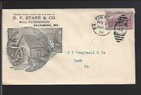 BALTIMORE,MARYLAND,1894,2CT COLUMBIAN COVER, ADVT, B.F. STARR & CO.MILL FURNISH.