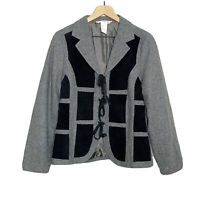 Nobu Nakano Japan Gray Black VTG 90s Tie Front Avant Garde Blazer Jacket Medium
