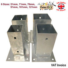 More details for heavy duty bolt down galvanised square post support fence foot pack of: 1 2 or 4