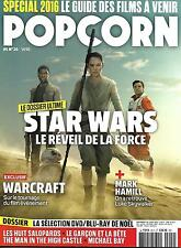 POPCORN N°20 DECEMBRE 2015 STAR WARS/ HAMILL/ WARCRAFT/ PREVIEWS/ HUIT SALOPARDS