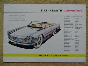 """ABARTH Fiat """"2200 Cabriolet / Coupé"""" - 1960 - French sales brochure, prospekte"""