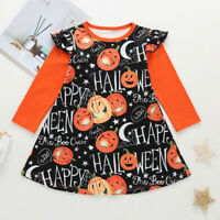 Toddler Kids Baby Girl Halloween Cartoon Print Princess Long Sleeve Dress Outfit