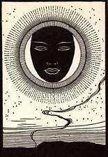 """Original 1948 Don Blanding Art Deco Vintage Print """"Obsidian Mask"""""""