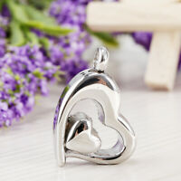 Stainless Steel Heart Shaped Urn Pendant For Cremation Jewelry Necklace Silver