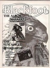 BLACKFOOT Marauder Tour 1982 Kerrang magazine ADVERT/Poster/clipping 11x8 inches