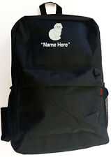WHITE PERSIAN CAT & Personal Name Embroidered Monogrammed Stitched Backpack Bag