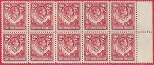 Northern Rhodesia 1941 sg 32 MNH 2d carmine-red marginal block of 10