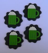 12 edible BEER MUGS cake CUPCAKE topper 18TH BIRTHDAY DECORATION st patrick day