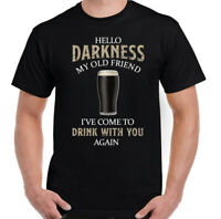 GUINESS T-SHIRT Mens Hello Darkness My Old Friend Beer Alcohol Drunk BBQ Tee Top