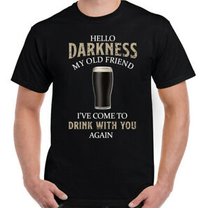 GUINESS T-SHIRT Mens Hello Darkness My Old Friend Beer Alcohol BBQ Guinness Tee