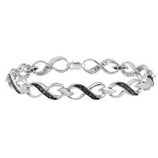 0.75 CT Sterling Silver Round Black Diamond Infinity Heart Tennis Link Bracelet