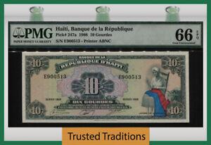 TT PK 247a 1988 HAITI BANQUE DE LA REPUBLIQUE 10 GOURDES PMG 66 EPQ GEM UNC!