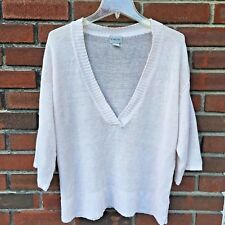 Chicos White Ivory 1 1X V-Neck Short Sleeve Women Loose Knit Top Sweater Linen