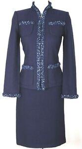 NWT ST.JOHN Collection Women Knit Navy Blue Ruffle Trim Zip Jacket & Skirt Sz 4