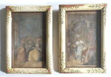 SET Antique Colored ETCHINGS & Antique Hand Painted Wood Frame