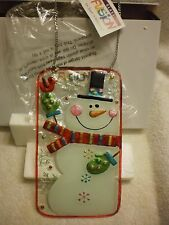 New listing Lori Siebert for Silvestri Glass Fusion Hanging Wall Art Holiday Snowman Plaque