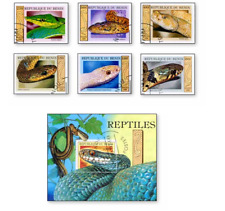KASBEN99081 Snakes 6 STAMPS AND BLOCK CANCELED BENIN 1999