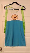 Adventure Time Finn Pajamas Tank Dress w/ Cape Junior Sz Extra Large XL Cosplay