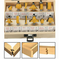 12PC 1/4'' Professional Shank Tungsten Carbide Router Bit Set With Wood Box Case