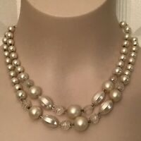 Vintage 1950s Faux White Pearl and Clear Faucet 2 Strand Beaded Necklace Japan