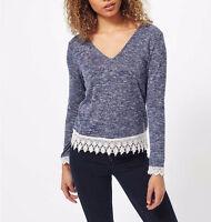 Miss Selfridge NEW Blue Lattice Back Fine Knit Crochet Jumper Top Size 6 - 14