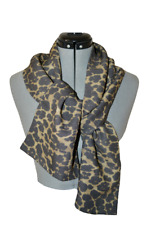 Handmade Animal Print Italian Wool/Silk Charmeuse SCARF in Gray / Beige  colors