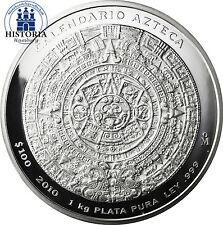 Mexiko 100 Pesos Silber 2010 PL Atztekenkalender 1 Kg Silbermünze im Etui & COA